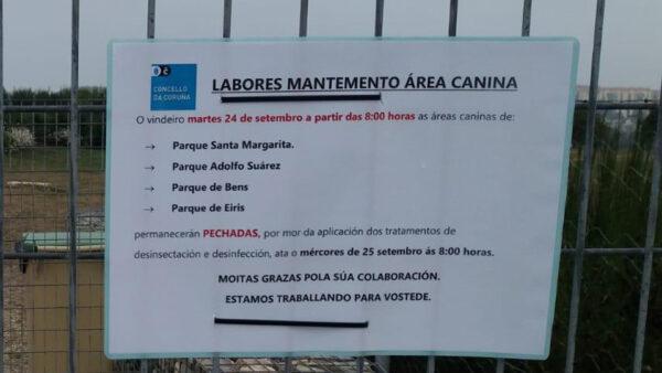 Áreas caninas cerradas por mantenimiento